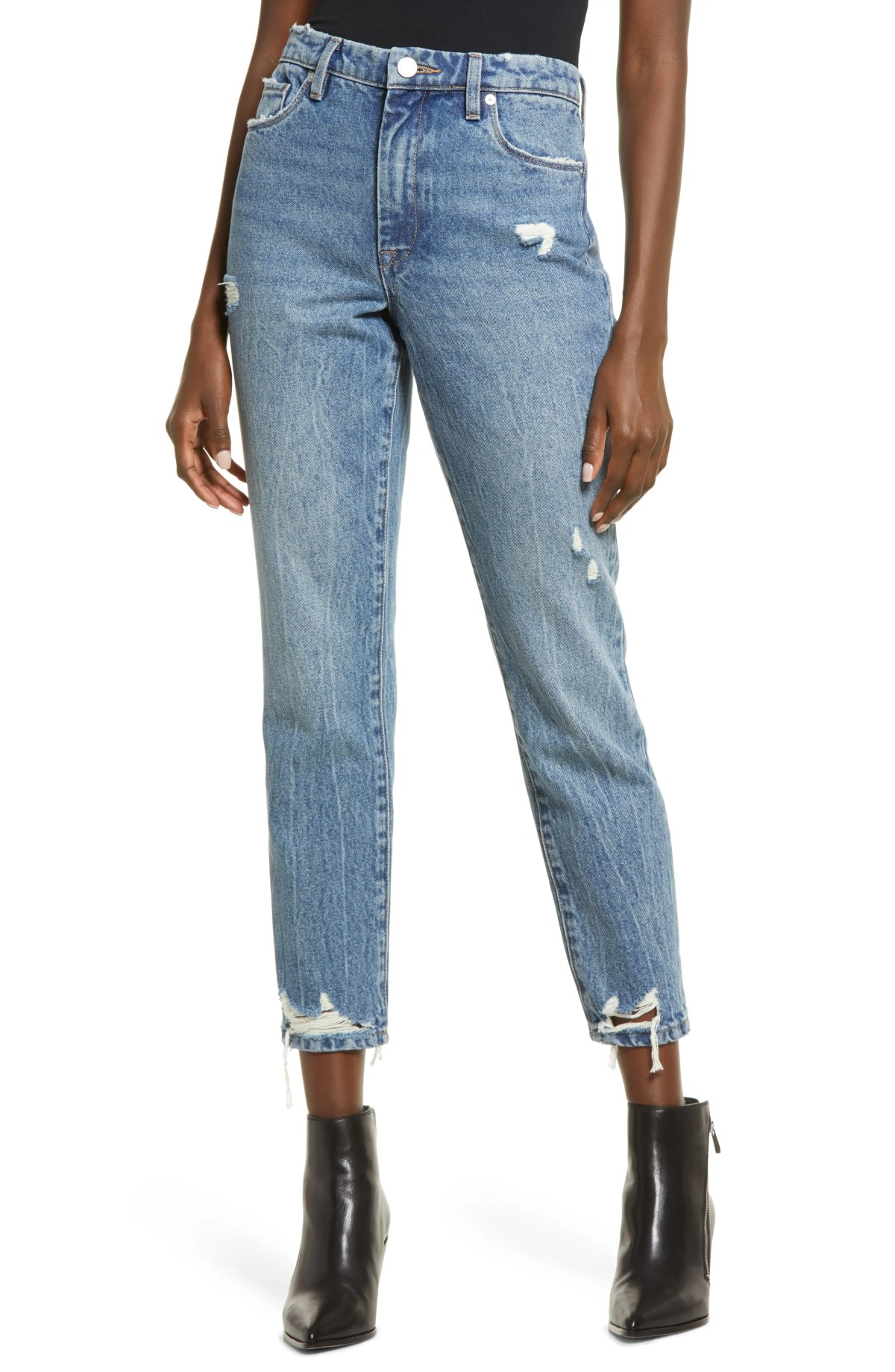 BLANKNYC The Madison Ripped Crop Straight Leg Jeans, Main, color, GOOD VIBRATIONS