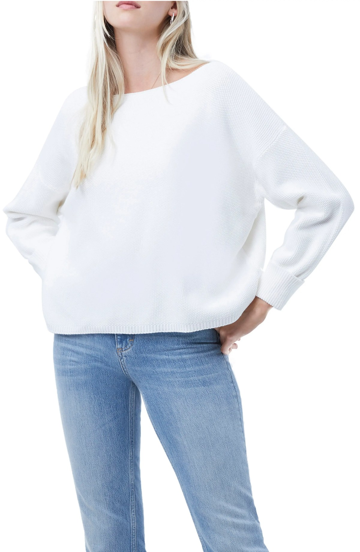 FRENCH CONNECTION Mozart Textured Sweater, Main, color, WINTER WHITE