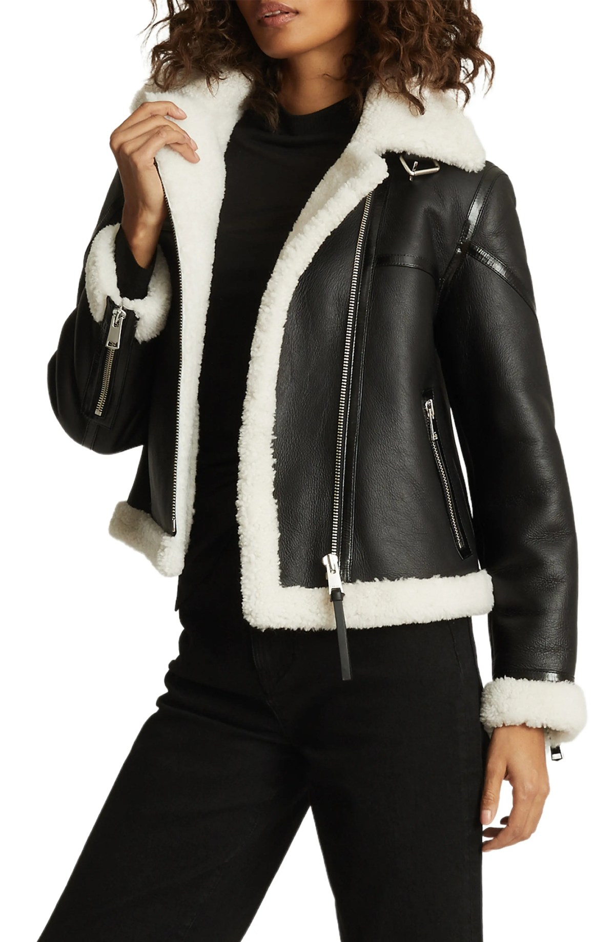 REISS Eve Genuine Shearling Aviator Jacket, Main, color, BLACK/WHITE