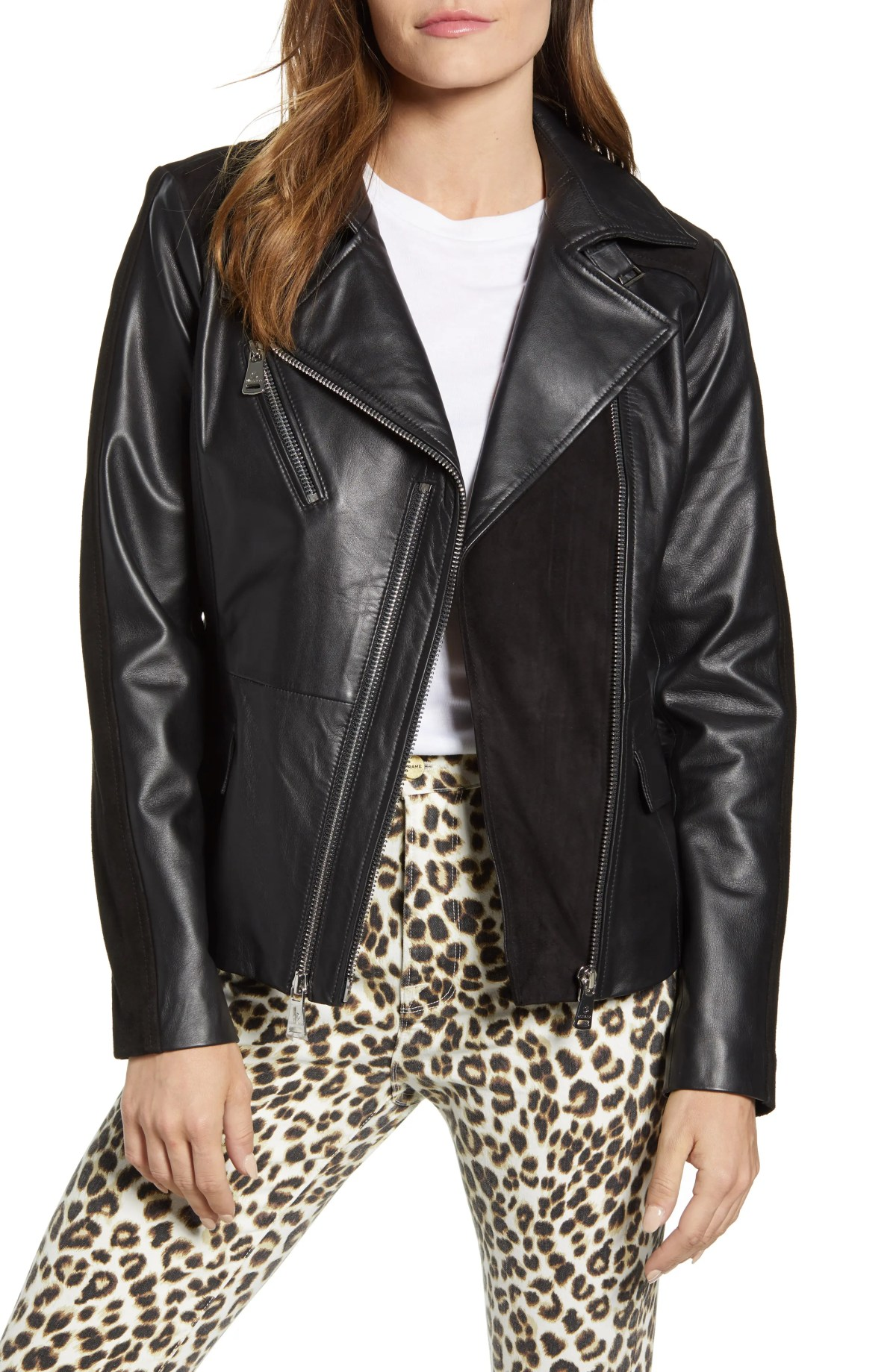 BERNARDO Suede Detail Leather Moto Jacket, Main, color, BLACK