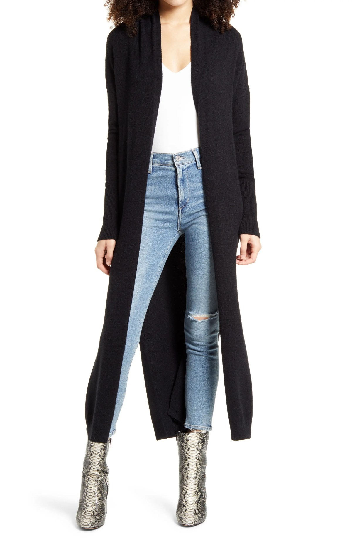 LEITH Longline Open Cardigan, Main, color, BLACK