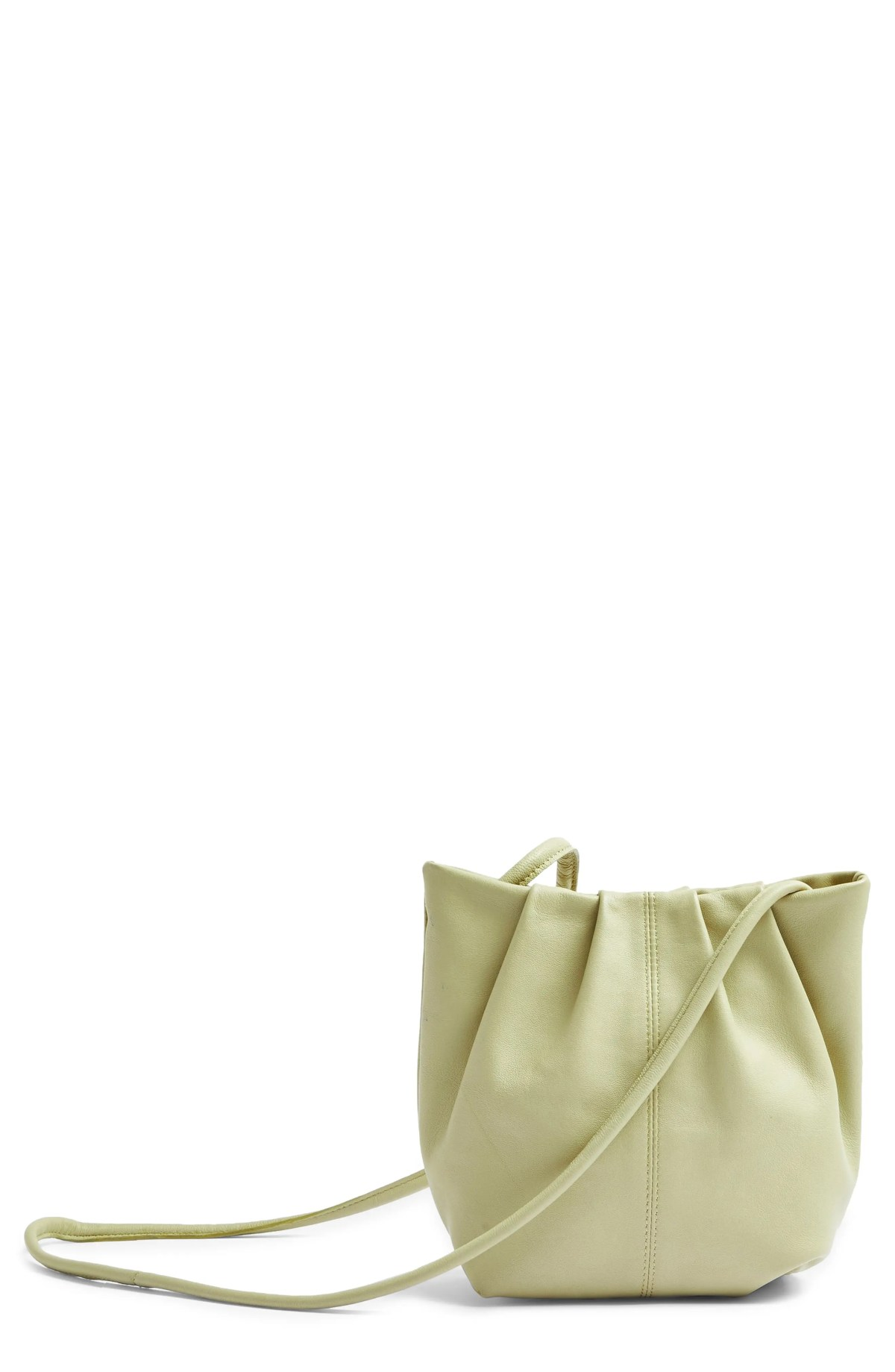 TOPSHOP Leather Bucket Bag, Main, color, GREEN