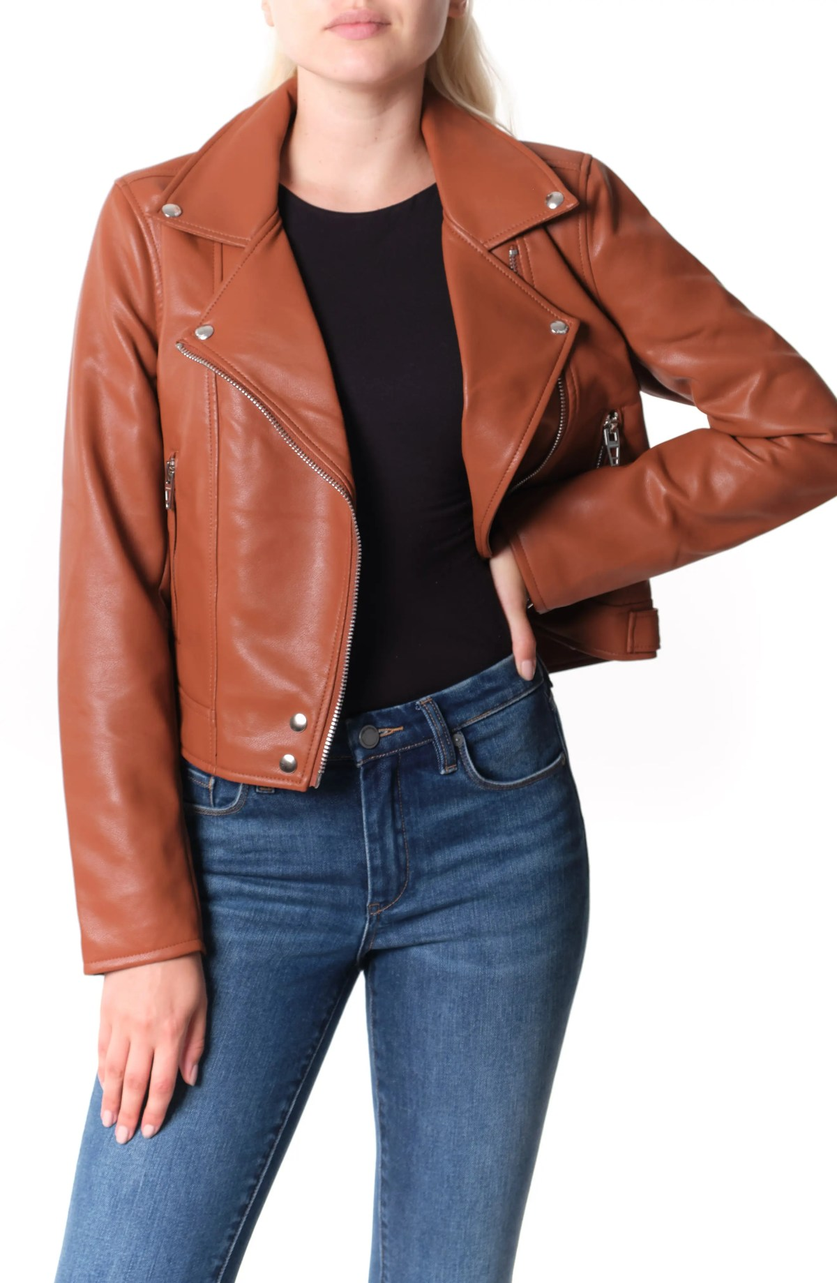BLANKNYC Good Vibes Faux Leather Moto Jacket, Main, color, CHATTER BOX