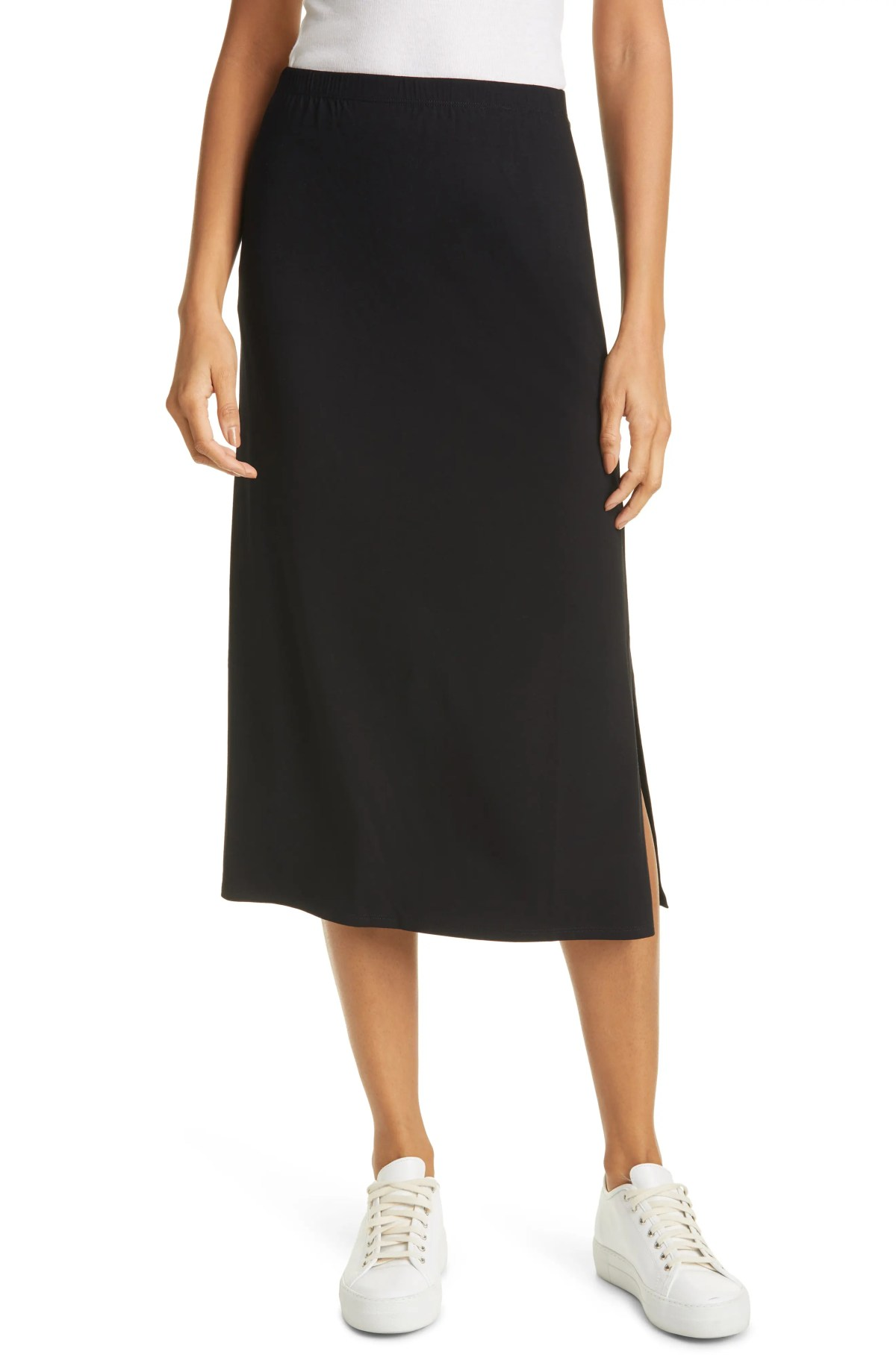 EILEEN FISHER A-Line Skirt, Main, color, BLACK