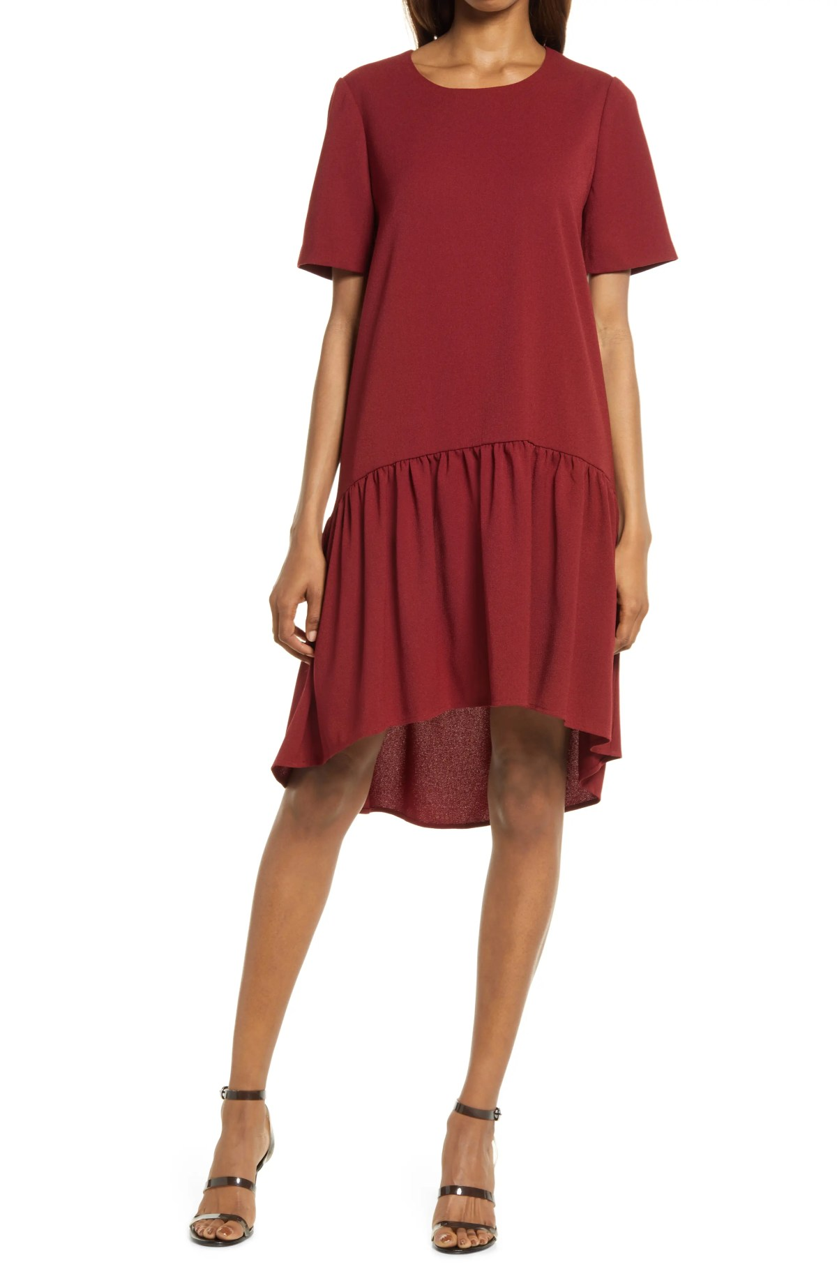 CHARLES HENRY High/Low Knit Dress, Main, color, BURGUNDY