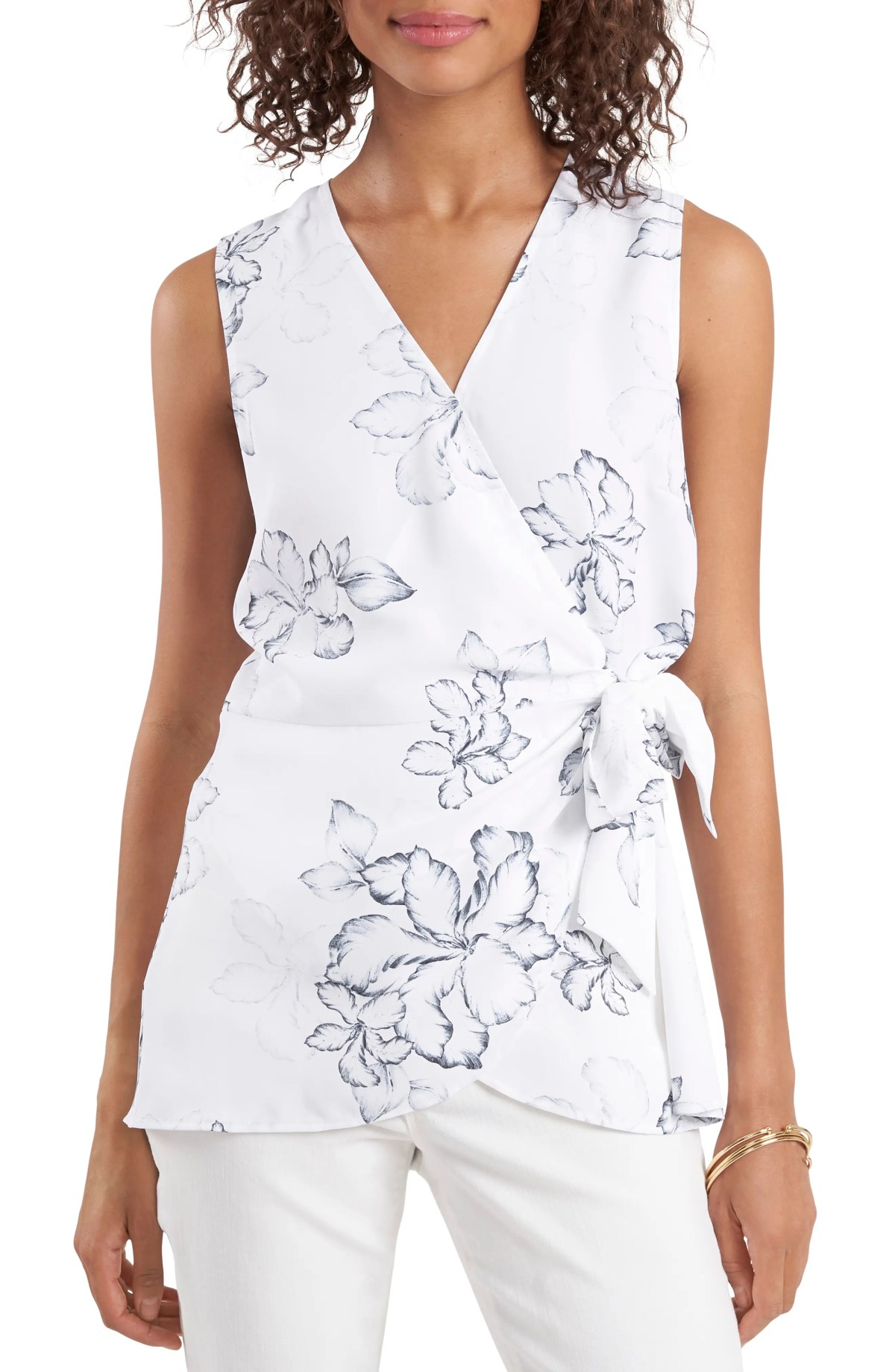VINCE CAMUTO Floral Beauty Wrap Front Sleeveless Blouse, Main, color, ULTRA WHITE