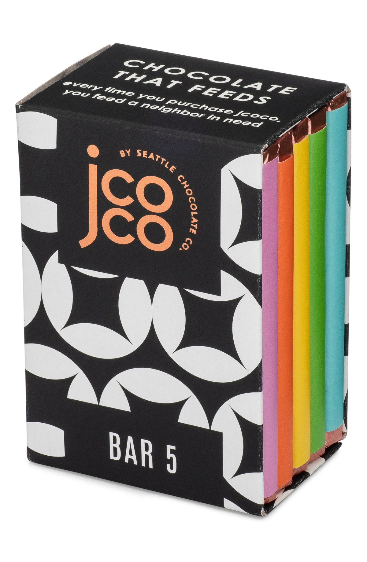 SEATTLE CHOCOLATE Bar 5 5-Piece Milk & White Chocolate Bars Gift Box, Main, color, BLACK AND WHITE