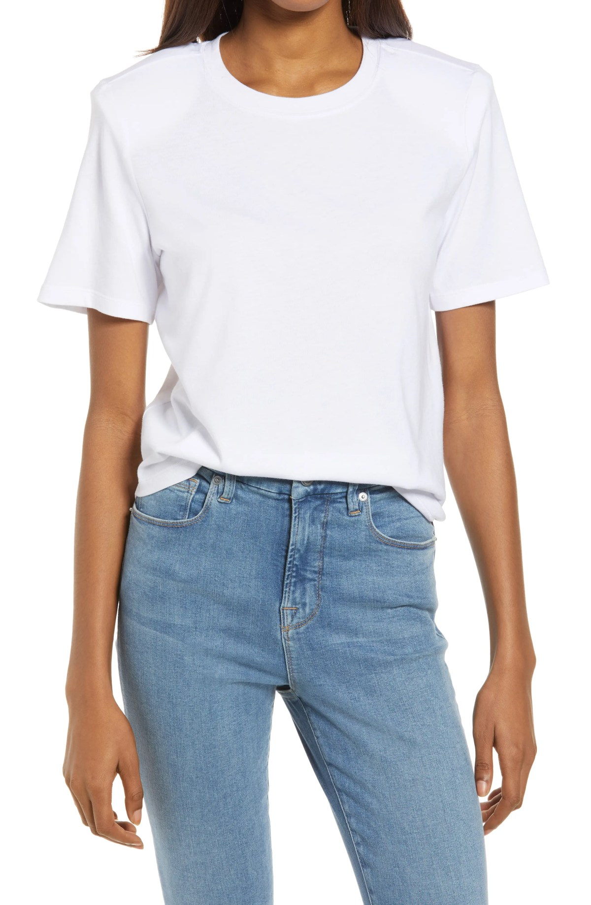 GOOD AMERICAN Strong Shoulder Tee, Main, color, WHITE