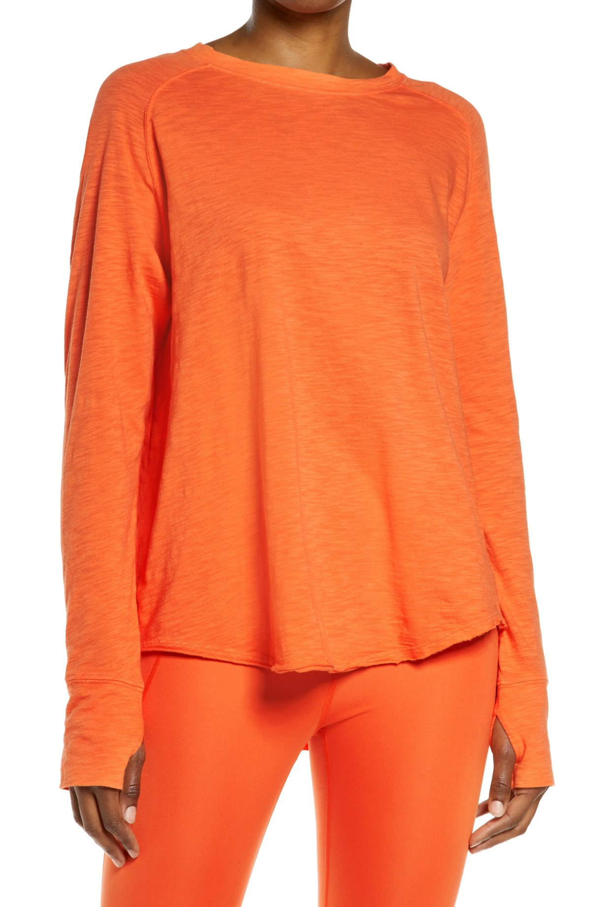 ZELLA Relaxed Long Sleeve T-Shirt, Main, color, ORANGE LILY