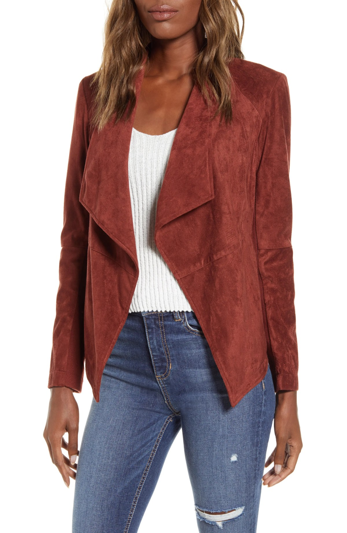 BB DAKOTA Wade Drape Front Faux Suede Jacket, Main, color, CHERRY WOOD