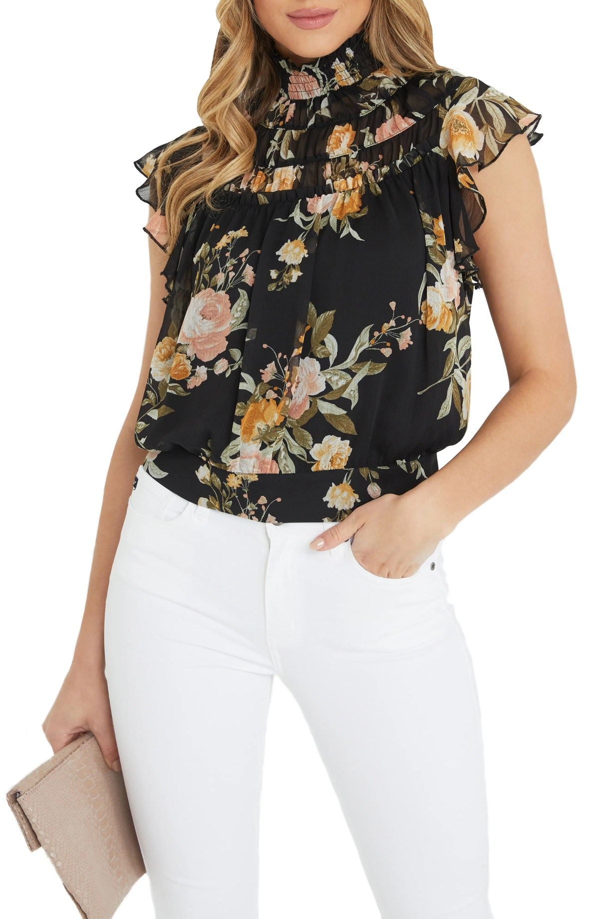 VICI COLLECTION Floral Smocked Collar Blouse, Main, color, BLACK MULTI