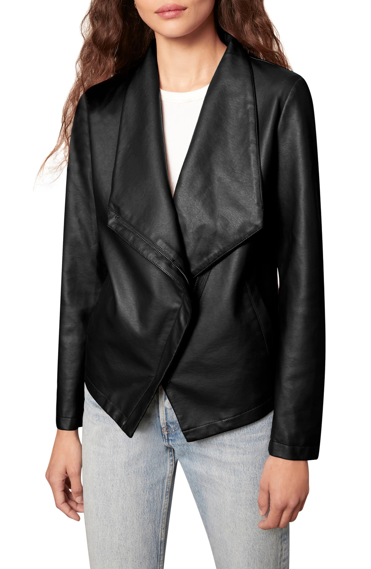 BB DAKOTA Faux Leather Jacket, Main, color, BLACK