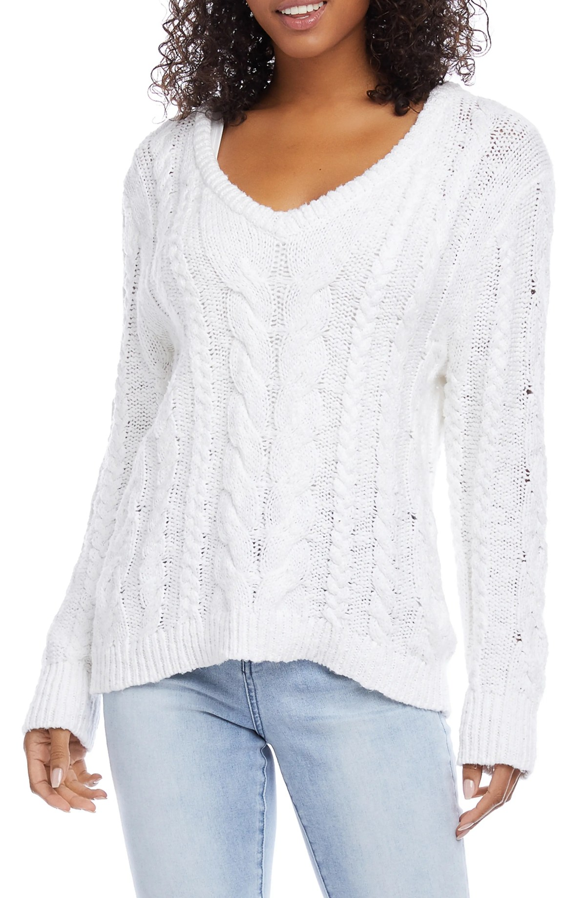 KAREN KANE Cable Knit Sweater, Main, color, OFF WHITE