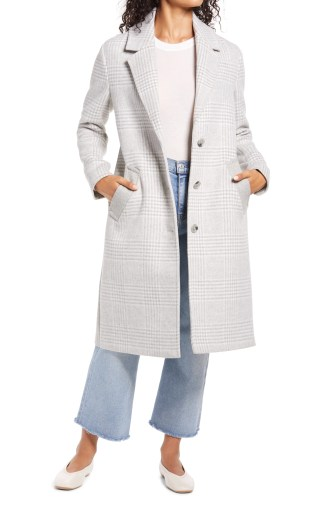 BERNARDO Plaid Coat, Main, color, LIGHT GREY