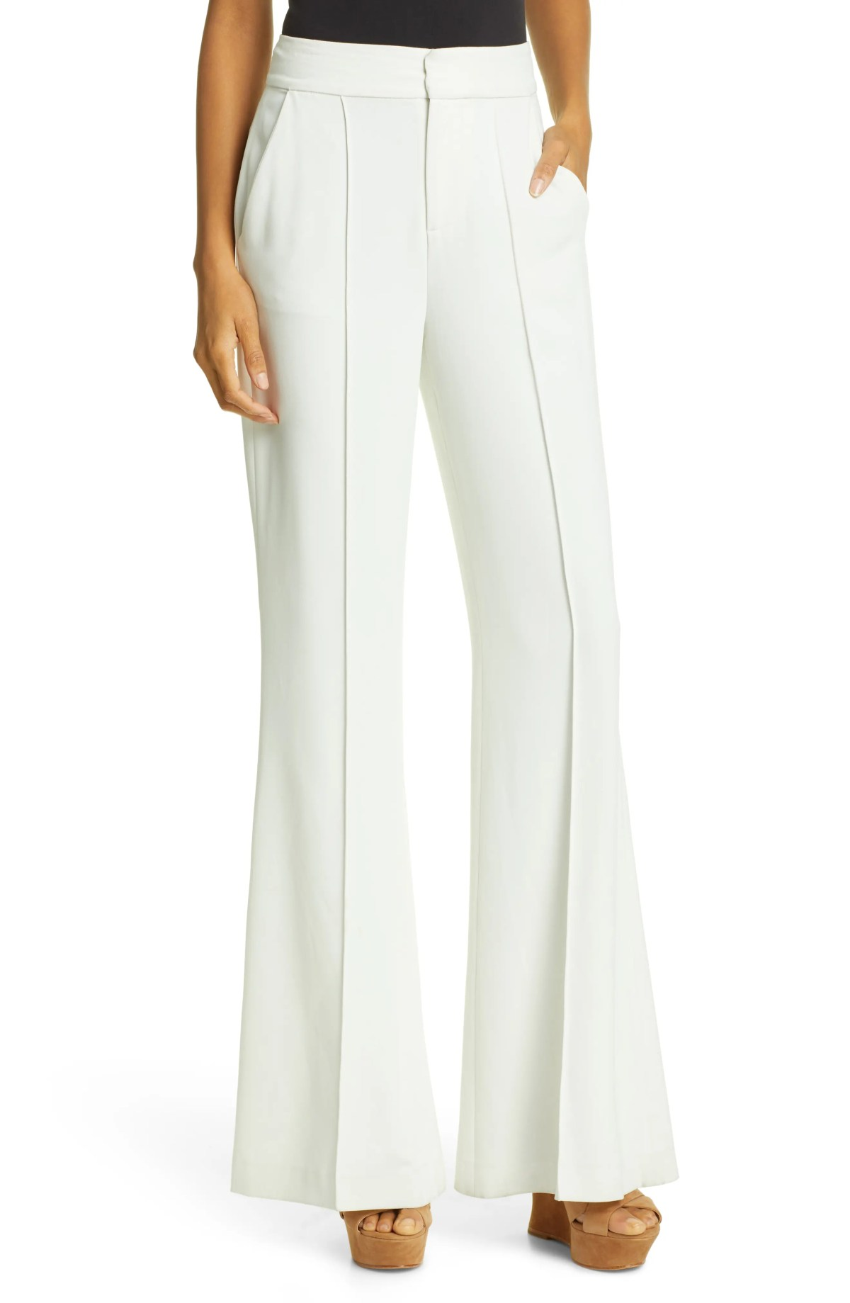 ALICE + OLIVIA Dylan Bootcut Pants, Main, color, WHITE