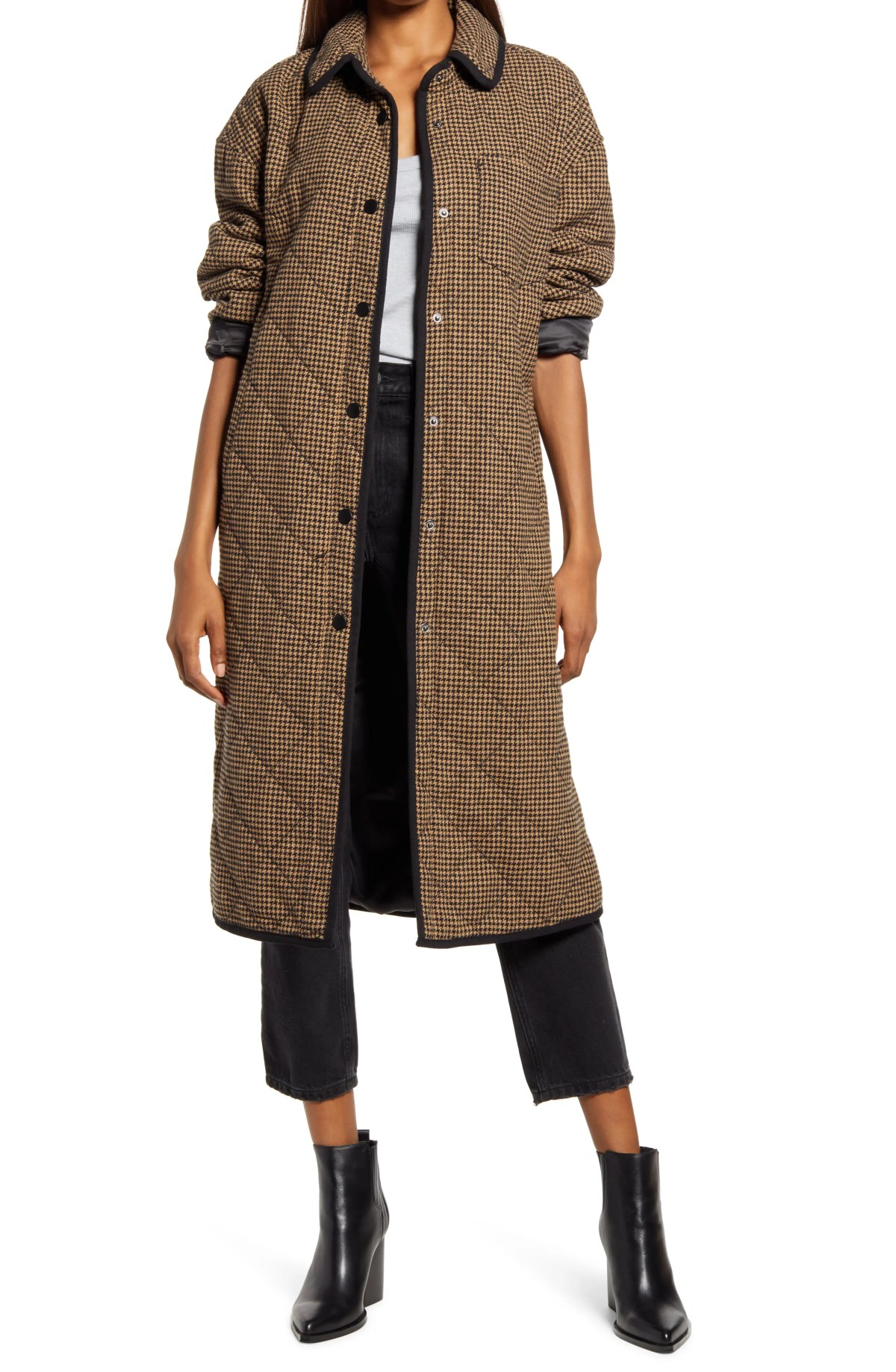 TREASURE & BOND Houndstooth Quilted Long Coat, Main, color, BLACK- TAN HOUNDSTOOTH