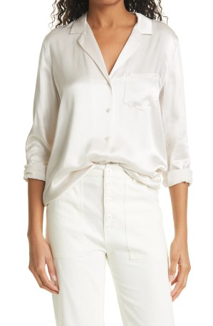 RAILS Rebel Long Sleeve Satin Button-Up Blouse, Main, color, IVORY