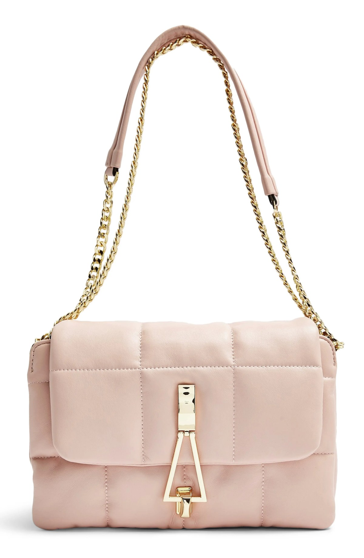 TOPSHOP Triangle Quilted Shoulder Bag, Main, color, Pink