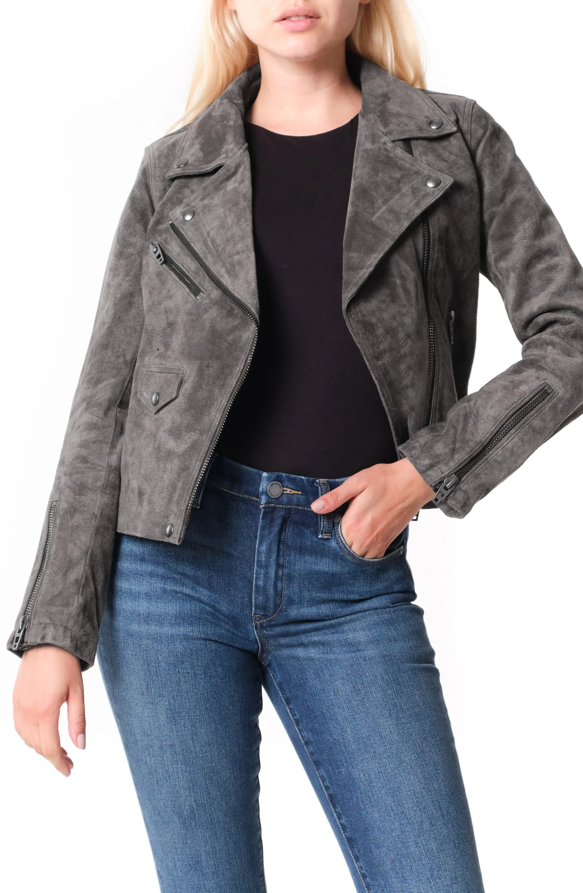 BLANKNYC Vital Signs Suede Moto Jacket, Main, color, ROAD TRIP