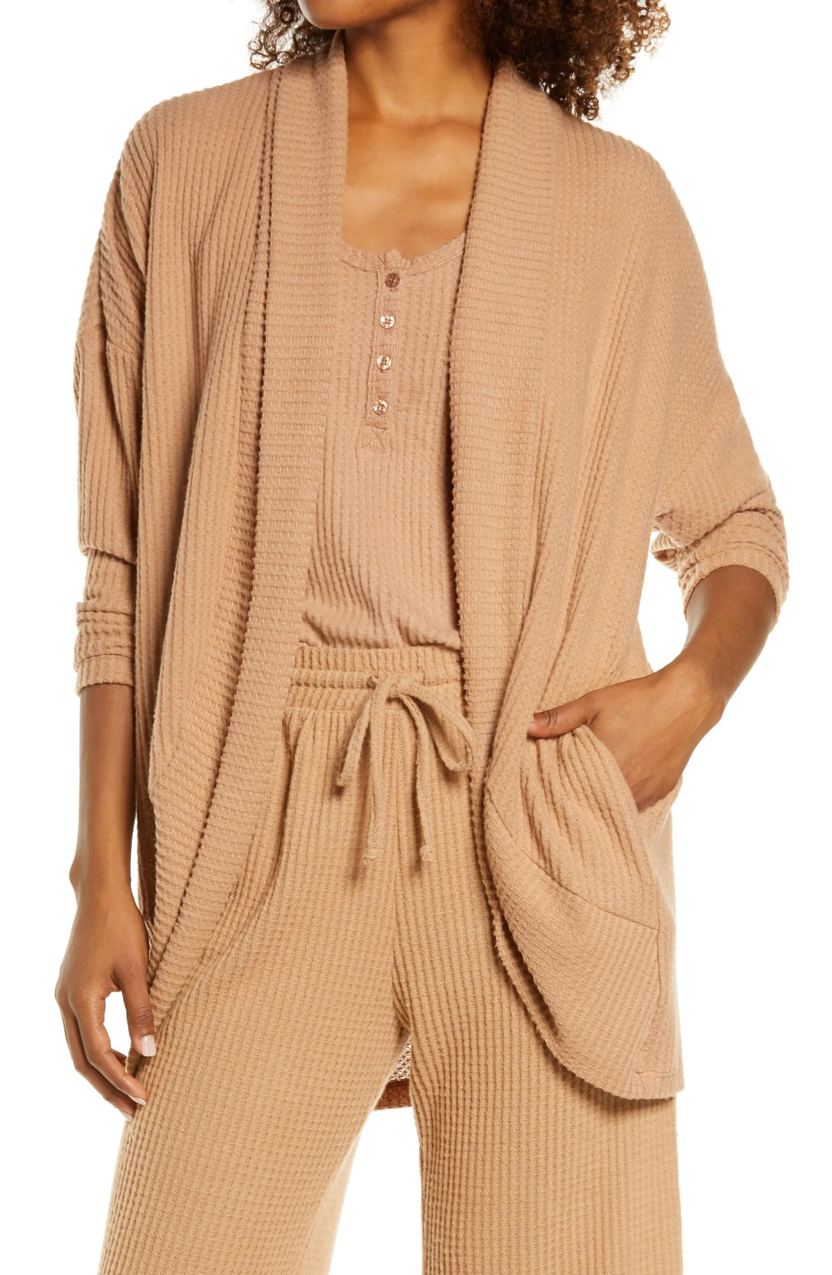 SOCIALITE Cocoon Waffle Knit Cardigan, Main, color, CAMEL