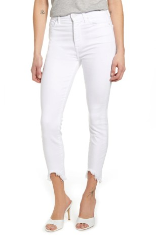 7 FOR ALL MANKIND<SUP>®</SUP> Fray Hem Ankle Skinny Jeans, Main, color, CLEAN WHITE