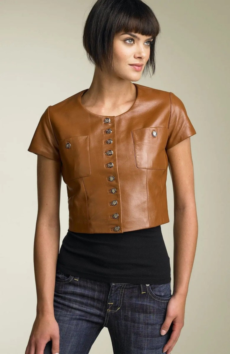 members only short sleeve crop leather