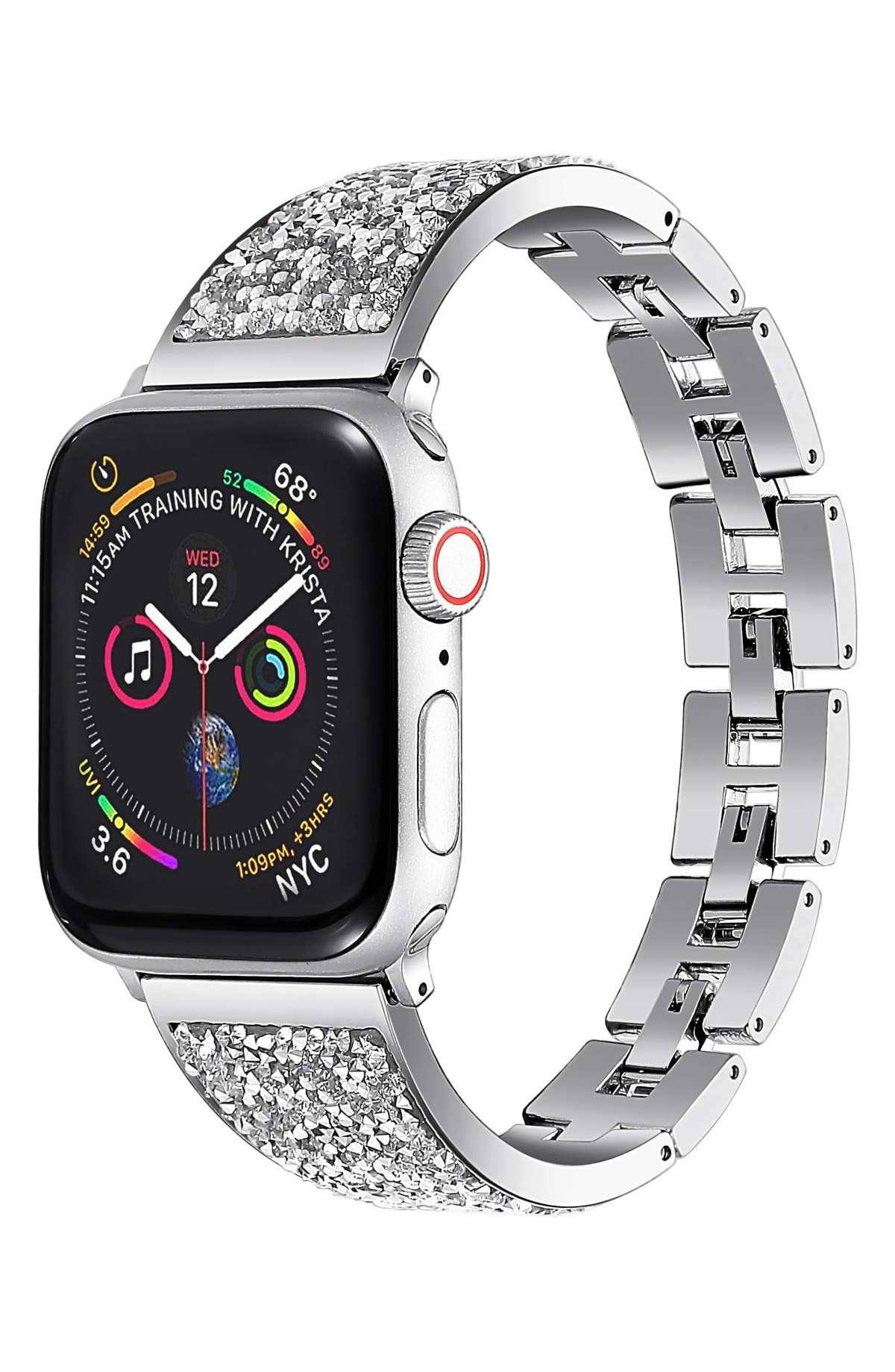 THE POSH TECH Stainless Steel Bracelet Strap for Apple Watch<sup>®</sup>, Main, color, SILVER-42/ 44MM