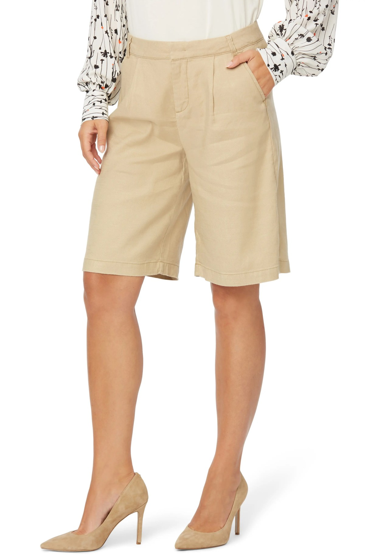 NYDJ Relaxed Linen Blend Bermuda Shorts, Main, color, WARM SAND