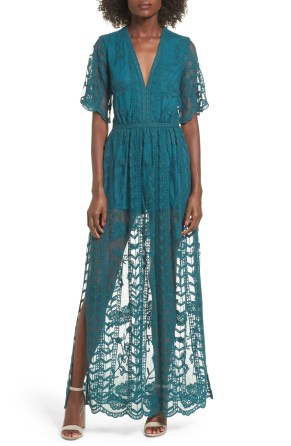 Lace Overlay Romper, Main, color, Teal