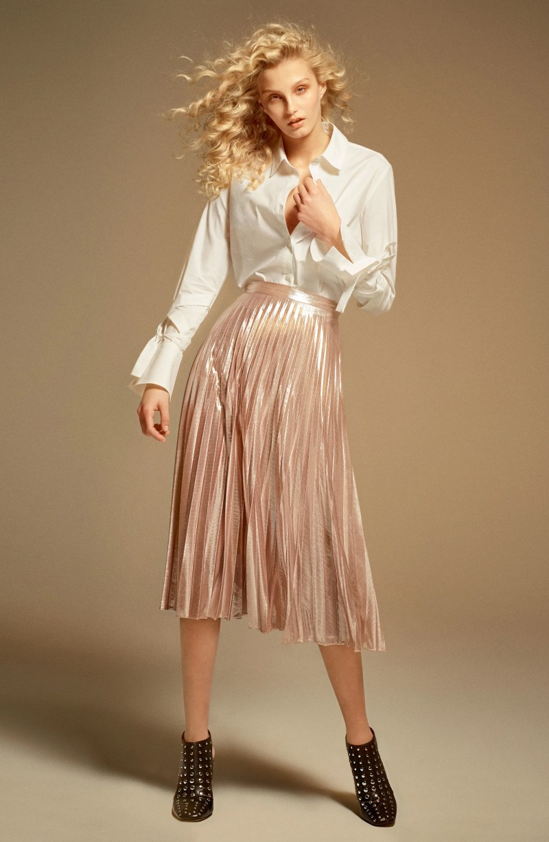 Main Image - 1.STATE Metallic Pleated Midi Skirt