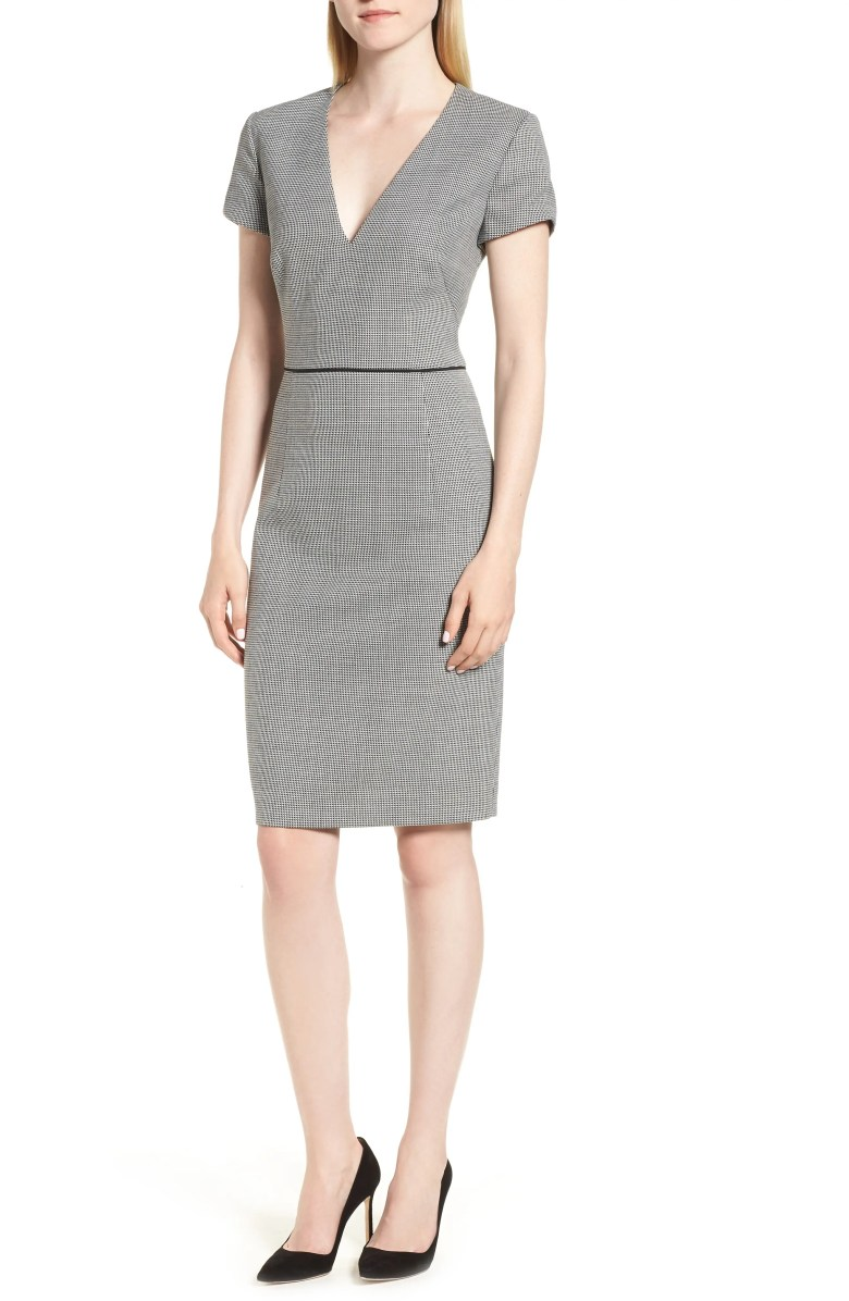Doritala Geometric Wool Blend Petite Sheath Dress BOSS $495