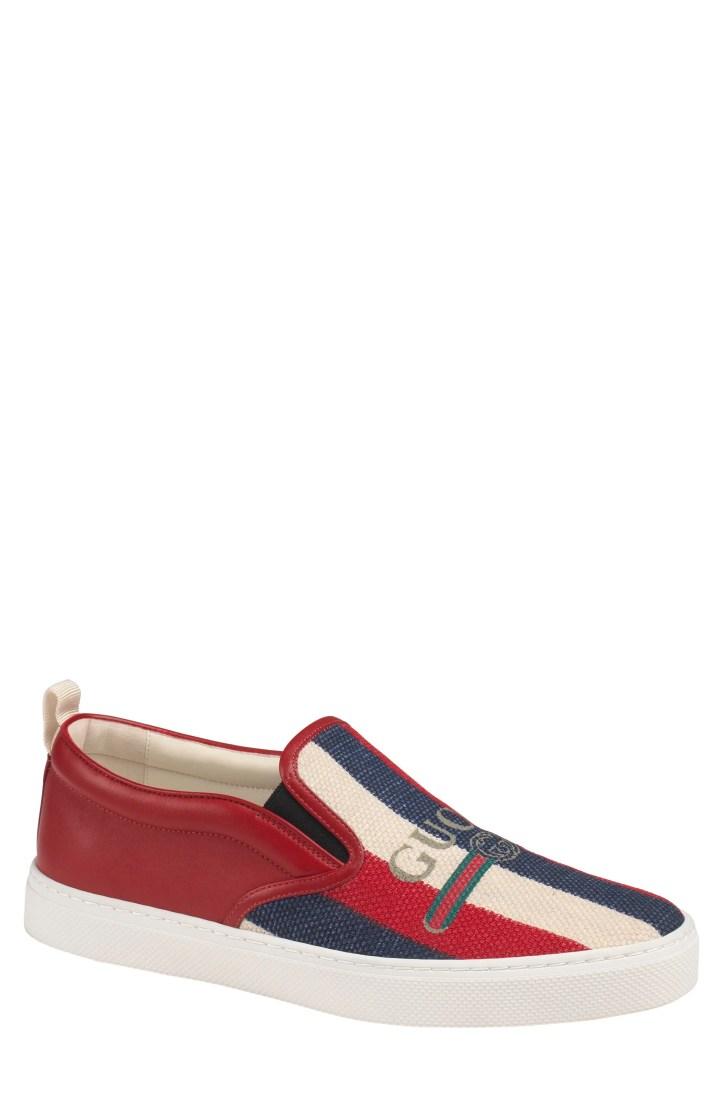 Gucci Dublin Bar Logo Linen Slip-On Sneaker (Men)