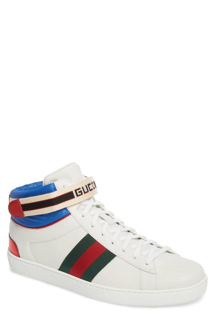 Gucci New Ace High Logo Strap Sneaker (Men)