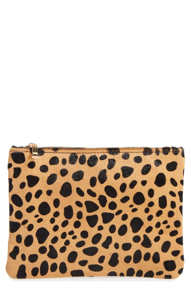 Leopard Print Genuine Calf Hair Pouch,                         Main,                         color, Natural
