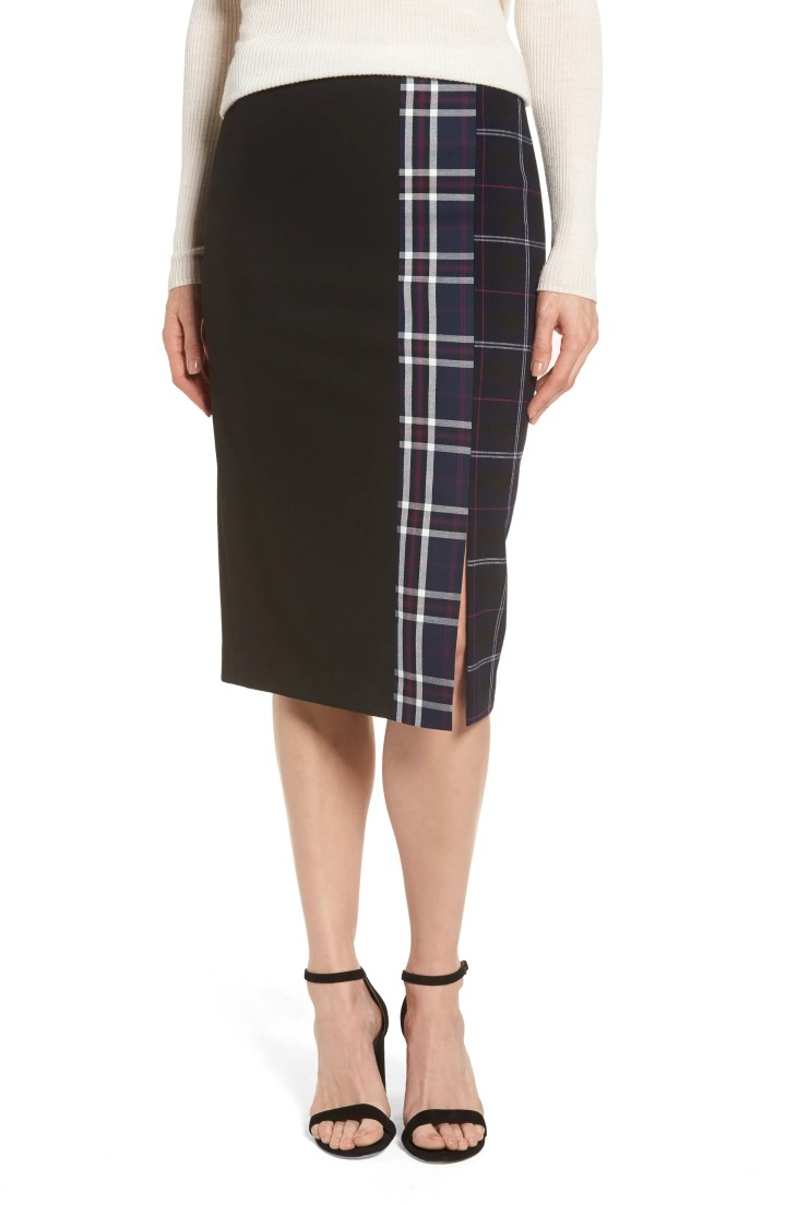 Main Image - Halogen® Mixed Plaid Pencil Skirt