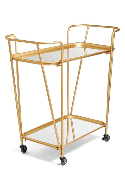 Gold Mirrored rolling bar cart