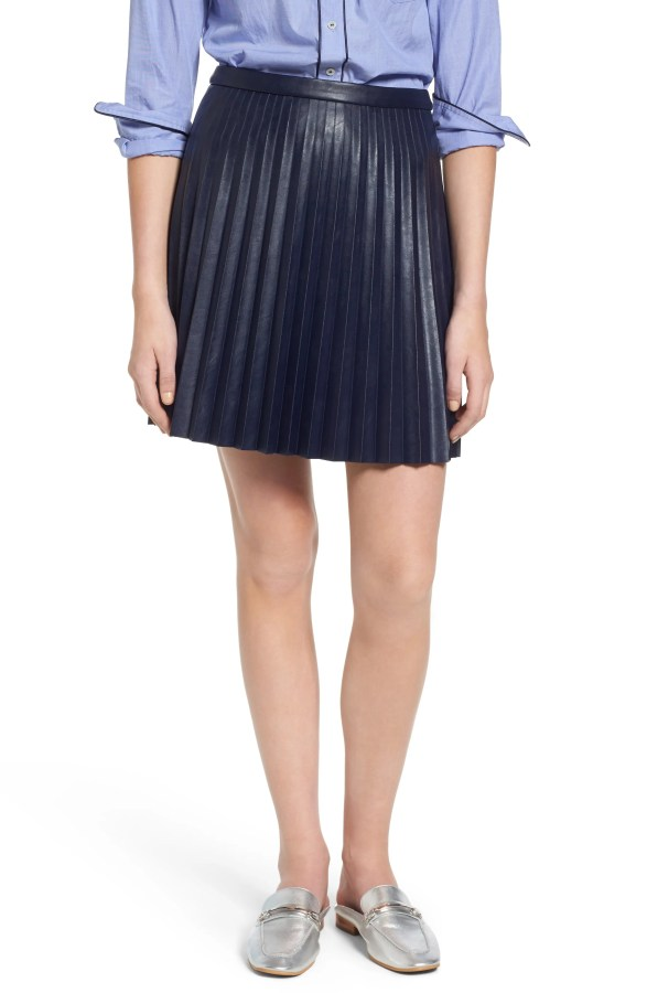 Main Image - J.Crew Pleat Faux Leather Miniskirt (Regular & Petite)