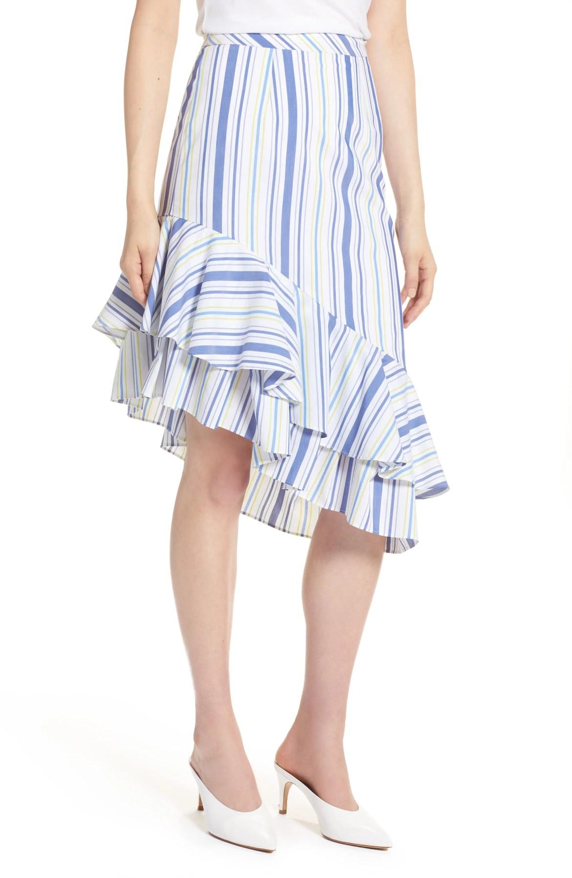 Ruffle Hem Stripe Skirt