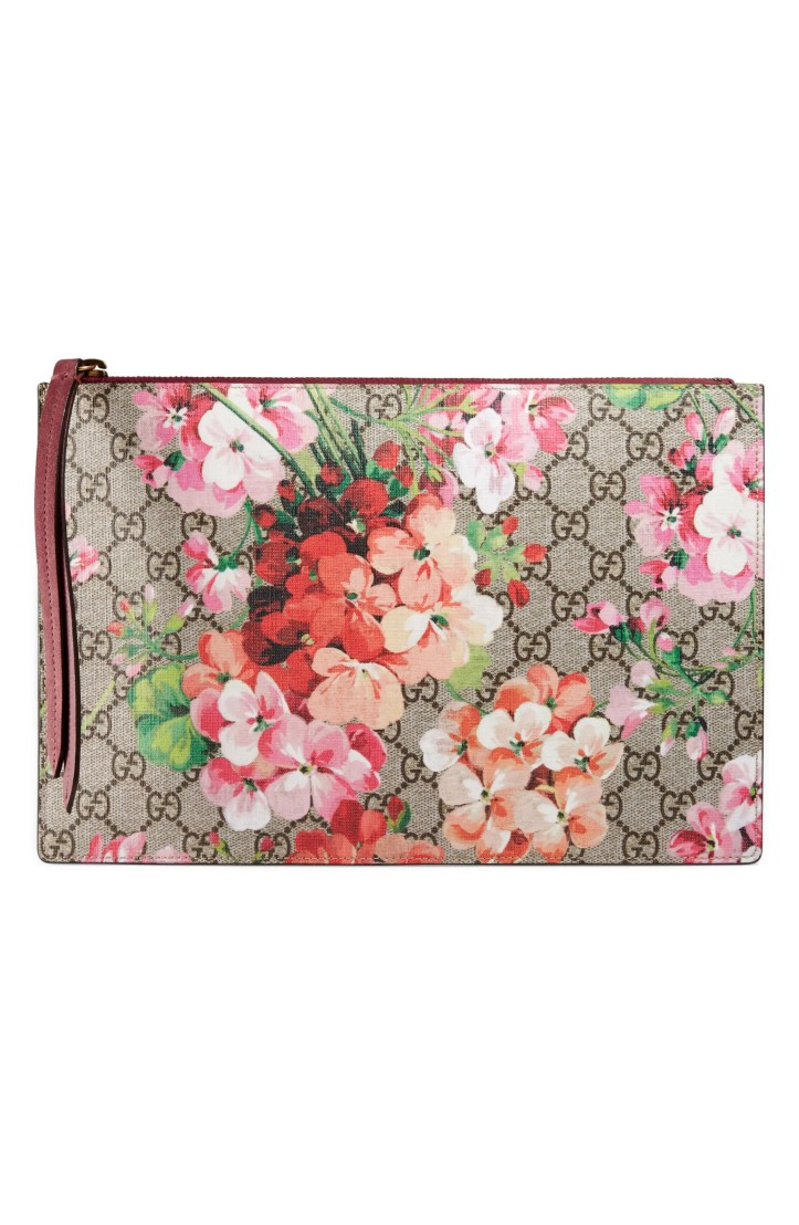 Gucci GG Blooms Large Canvas & Suede Pouch