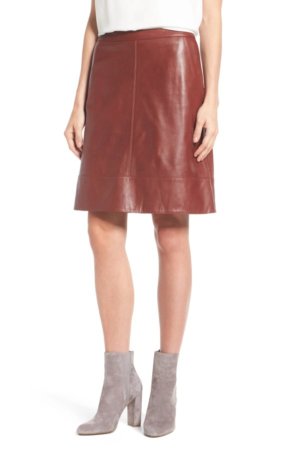 Main Image - Halogen® A-Line Leather Skirt (Regular & Petite)