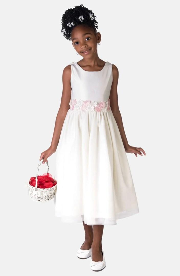 Sorbet Flower Satin Dress Toddler Girls Little Girls