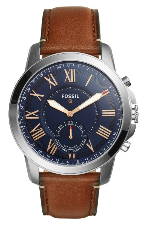 Main Image - Fossil Q Grant Leather Strap Smart Watch, 44mm