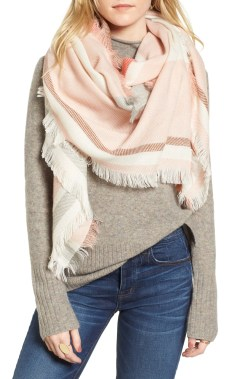 Colorblock Blanket Scarf, Main, color, Cream/ Pink/ Bison