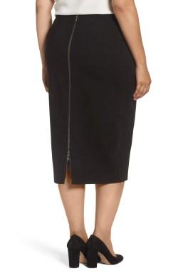 Main Image - Sejour Zip Vent Midi Pencil Skirt (Plus Size)