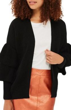 Main Image - Topshop Layered Ruffle Sleeve Cardigan