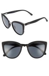 'My Girl' 50mm Cat Eye Sunglasses, Main, color, Black/ Smoke Lens