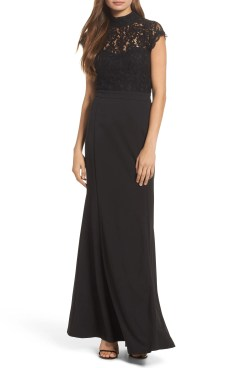 Lace Bodice Mermaid Gown, Main, color, Black