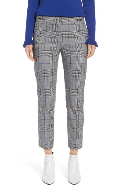 Slim Stretch Crepe Pants, Main, color, Black- Blue Plaid