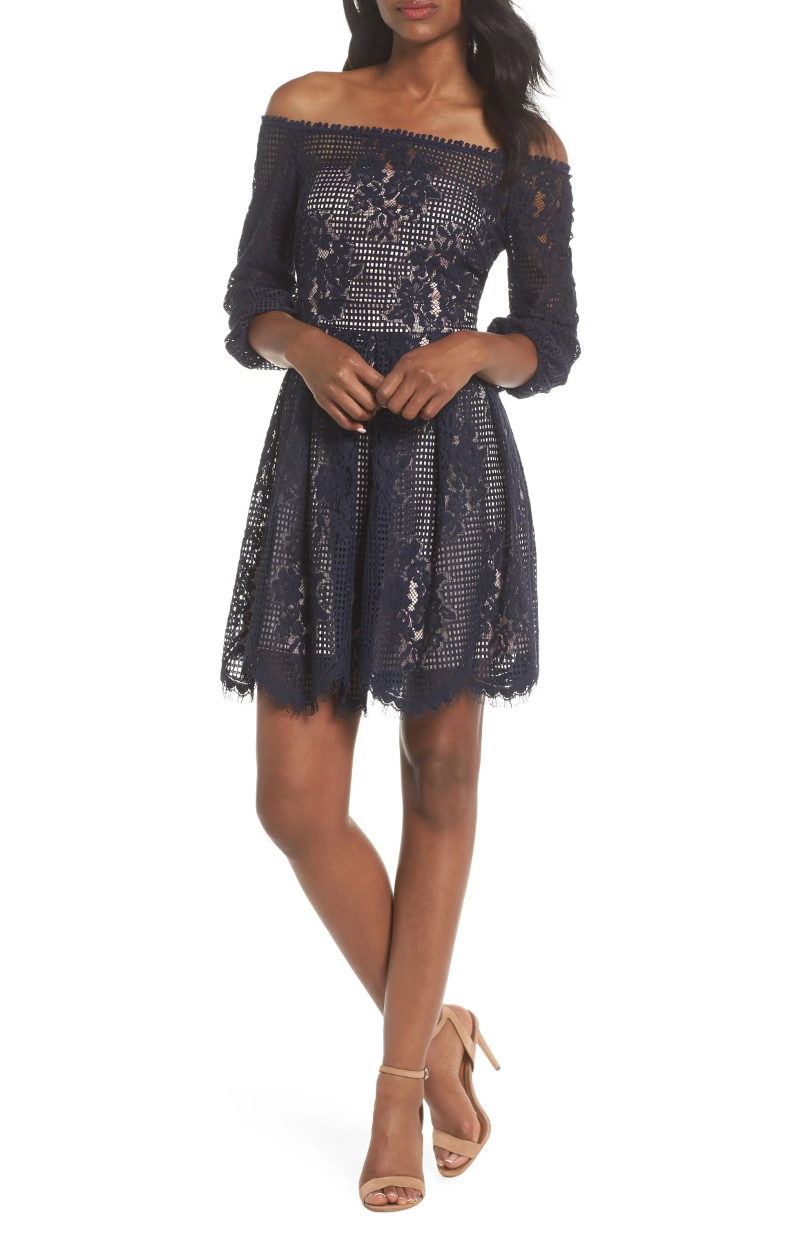 Floral Lace Off the Shoulder Dress