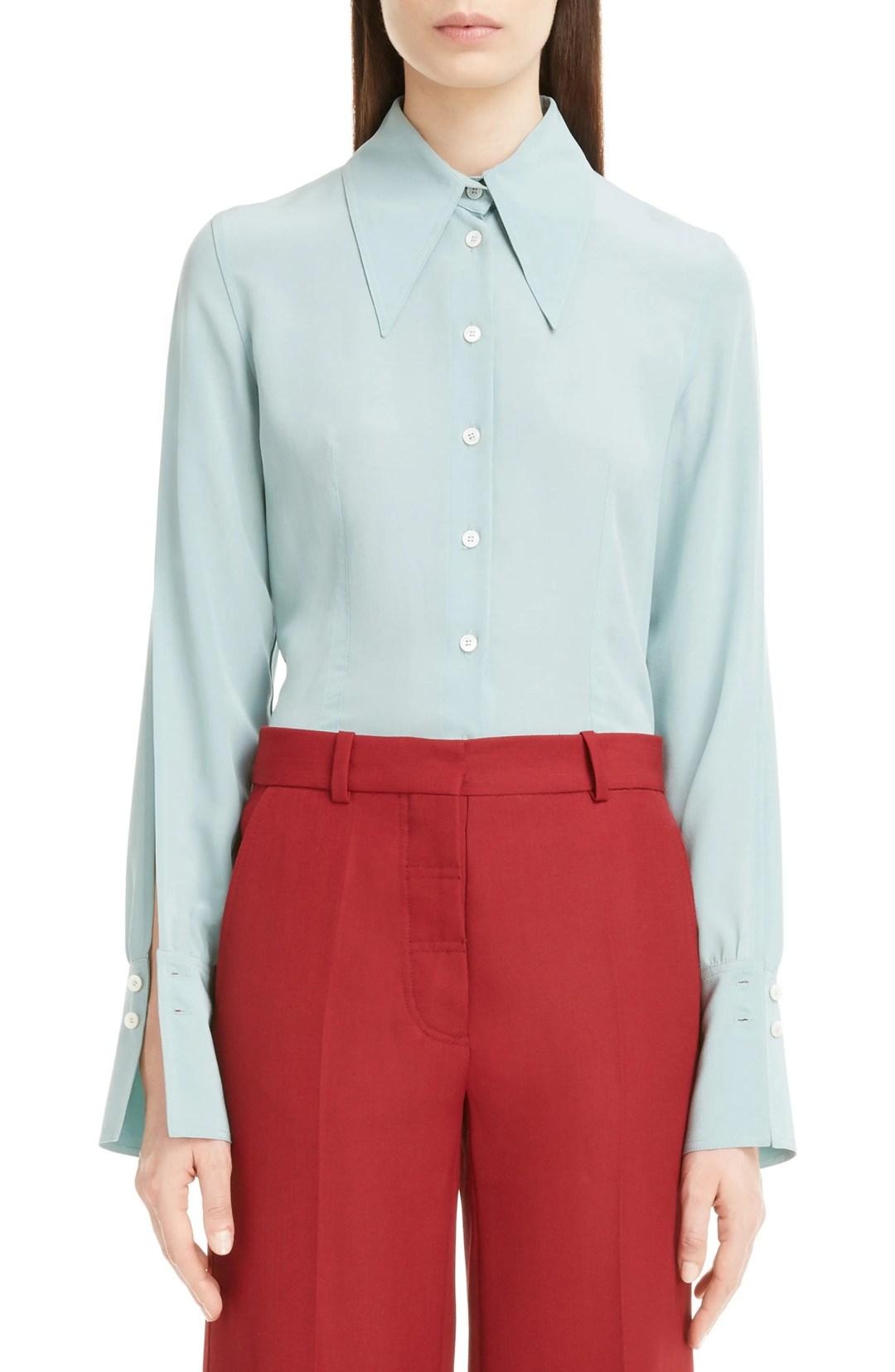 508f74e66a26 Victoria Beckham Split Sleeve Silk Shirt